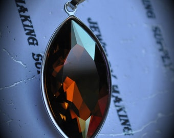 Genuine Silver Plated Swarovski Crystal Copper Navette Pendant