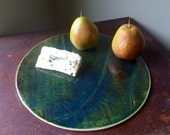 Ceramic Cheese Board Circle in Fern Porcelain
