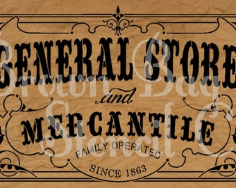 Ornate GENERAL STORE and MERCANTILE stencil - reusable mylar stencil 11x20