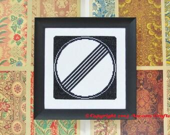 No Speed Limit Cross Stitch Pattern Road Sign PDF