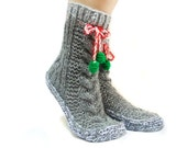 ON SALE \\ Grey Cable Knit Socks, House booties, Christmas Gift Socks, Long Pompom Cute Slippers,