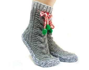 Grey Cable Knit Socks, House booties, Christmas Gift Socks, Long Pompom Cute Slippers,
