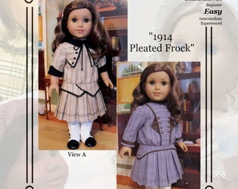 "PDF Pattern KDD08 ""1914 Pleated Frock"" -An Original KeepersDollyDuds Design, 18"" Doll Clothes Fit American Girl"