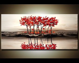 "48"" Abstract Contemporary Red Blooming Tree Painting Heavy Palette Knife by Osnat - MADE-TO-ORDER - 48""x24"""