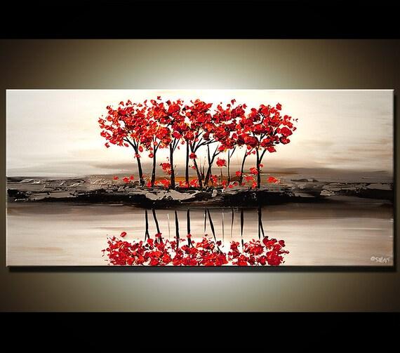 48 abstrait contemporain rouge fleur arbre peinture for Dark red paintings