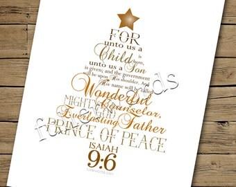 Christmas Word Art - Isaiah 9:6 - golds/browns digital printable