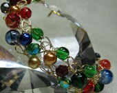 Multi-Color Wire Crochet Bracelet in Red, Green, Gold, and Blue, handmade beaded jewelry