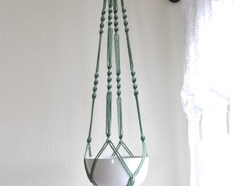 """Hand Crafted Macrame Plant Hanger- Sage 42""""-45"""" (Available in all colors)"""