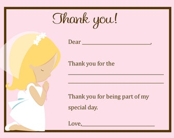 First Communion BLONDE Thank You Card  - Digital file - You print
