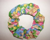 Easter Bunny Eggs fabric Hair Scrunchie - holiday scrunchies, bunnies, rabbit, egg