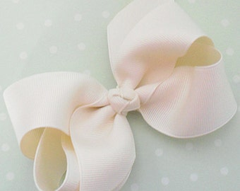 "Ivory Hair Bow Ivory Bow Baby Bow Ivory Hair Clip Off White Bow Off White Hair Bow Hair Clip-Medium 4"" Boutique Bow-Newborn Infant Toddler"