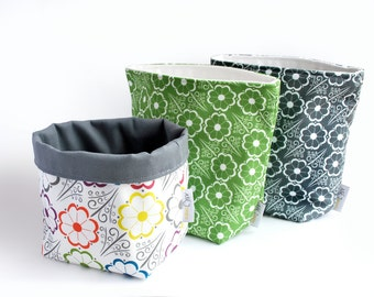 Reversible Fabric Storage Bucket -  Sunflower print
