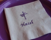 50 BAPTISM PAPER NAPKINS Personalized Baptism Gift Baby Boy Baptism Decorations Personalized Napkins Cross Boys Baptism Gift Girls Communion