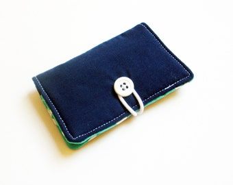 Solid Navy Fabric Business Card Holder, with Turquoise Aztec Geometric - Credit Card Holder, Cloth Card Holder, Gift Card Holder