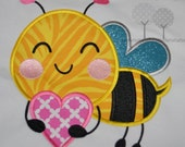 Bee Applique  Applique EMBROIDERY DESIGN -instant download