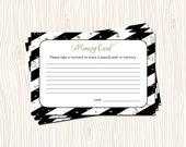 INSTANT DOWNLOAD - Memory Card Good Wish Wishes Gold Glitter Black Stripe Bridal Wedding Baby Shower Birthday Party - You Print