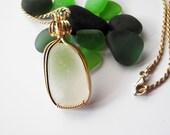 Sea Glass Pendant, Beach Glass Necklace, Seaglass Necklace, Genuine Sea Glass, Sea Glass Jewelry, Gold Wirewrap Pendant