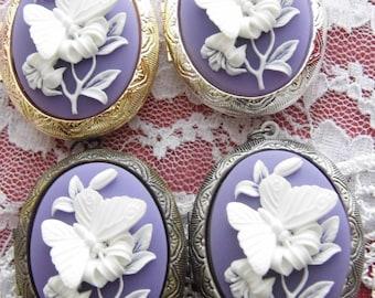 Kawaii Locket Purple Lavender & White Butterfly Cameo Ladies Silver Filegre art designer Necklace Pendant