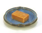 Round Soap Dish - Wine Bottle Coaster - Candle Holder - Blue Cottage Chic Plate - Split Rim Plate - Blue Ceramic Coaster - Modern Spoon Rest