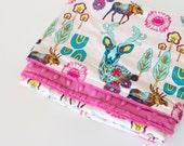 Dreamlandia Baby Blanket, Deer Toddler Blanket, Minky Blanket, Modern Baby Blanket, Modern Toddler Blanket, Handmade Minky Blanket