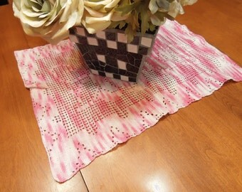 Vintage Pink and White Hand Crochet table runner for christmas, holiday, housewares, home decor, valentines by MarlenesAttic