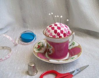Teacup Pincushion / Recycled /Repurposed / Upcycled / Reclaimed