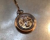 Skeleton Style Pocket Watch on a Pocket Watch Chain, Steampunk Pocket Watch, Pocket Watch Mechanical Movement