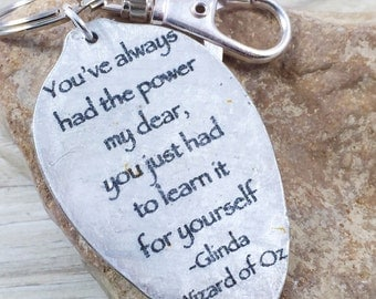 Peter pan quote keychain ill hold you in my heart spoon youve always had the power my dearyou just had to learn it solutioingenieria Choice Image