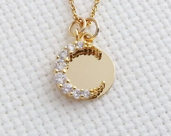 Crescent Necklace. Moon Necklace.Zirconia Crescent Pendant. Gold Filled Necklace. Delicate Dainty. Christmas Gift