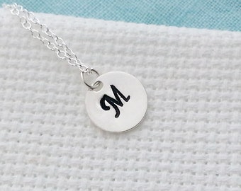 Initial Disc Necklace. Hand Stamped Round Disc.Sterling Silver Necklace. Monogram Necklace. Customized Personalized Necklace. Disc Necklace