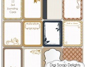 Nutmeg 1 Pocket Journal Cards, 3x4 Collage, Project Life Inspired, Printable Digital Scrapbook, Cinnamon Brown, Black, Gray