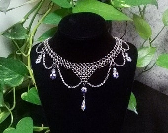 Beautiful Handmade Chainmaille Necklace with Crystal Beads