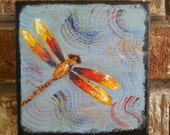 Original Acrylic Painting, Dragonfly, 5x5, canvas, small, blue, orange,  red, whimsical, mini, bayouland beads, nature, pond, bugs, insects,