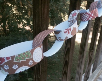 SALE - Paper Chain Kit, DIY Christmas Garland, Children's Party Decor, Kids Craft, Gingerbread Brown and Red, Party Supply