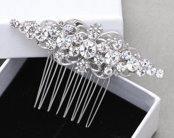 Brides Bridesmaids Vintage Style Rhombus Rhinestone Crystals Wedding Bridal Hair Comb