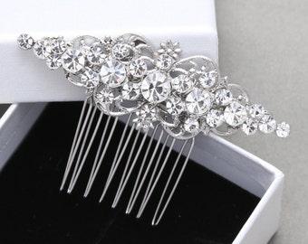 Brides Bridesmaids Vintage Style Rhombus Rhinestone Crystals Wedding Bridal Hair Comb
