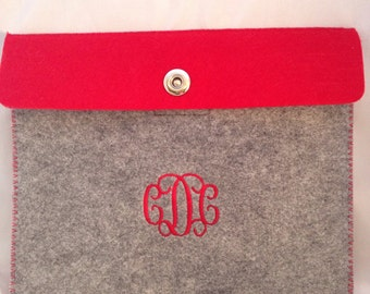 Ipad case/felt sleeve/monogrammed christmas gift/kindle case/ipad mini  case/personalized gifts