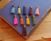 SALE 6 pcs Velvet Bronze Capped Tassel Charms Pendants Mixed Assorted Pink Teal Red Yellow Mustard Blue Orange Brown More 39mm (TS2274)