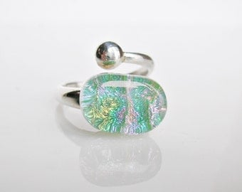Mint Green Fused Glass Ring Sterling Silver Adjustable Ring Dichroic Jewelry Fused Glass Jewelry Contemporary Jewelry