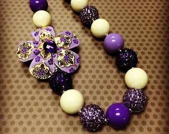Purple and Off White Chunky Bead Necklace...Necklaces...Childrens Jewelry...Chunky Beads...Jewelry...Girls Necklaces