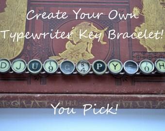 Custom Create Your Own Vintage Antique Authentic Typewriter Key Bracelet Jewelry Chunky OOAK Black Cream Keys