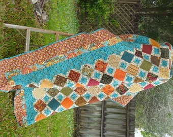 Rustic Multicolor Tiles Standard-Sized Quilt