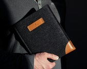 Cocones iPad Air 1 & 2 Sleeve / Case / Cover - Vegetable Tanned Italian Leather and Merino Wool Felt, Smokey Grey / Tan