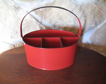 Red Enamel Utensil Holder, Red, Black Trim, Craft Tote, Tool Bin, Flatware Holder, Lunch, Tote, Compartments, Picnic, Carryall, With Handle