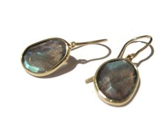 14K Solid  Gold Labradorite Earrings, Blue Labradorite Drops, Rose Cut Gemstone Earrings, Artisan Handmade by Sheri Beryl