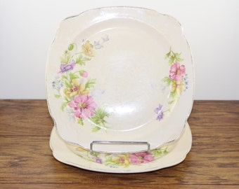Regina Salad plates circa 1935. Square plates.  Antique China.  Pastel Flowers.  Floral plate.  Wedding Plates.  Vintage Wedding Decor