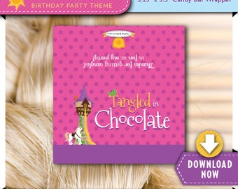 Tangled Inspired Candy Bar Wrapper Label   Printable Chocolate Candy Wrappers   Girl Birthday Party Favor   Instant Download