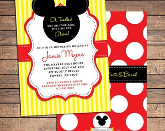 Mickey Mouse Baby Shower Invitation   Printable Baby Boy or Girl Invite   Red Black Yellow White   FREE Back