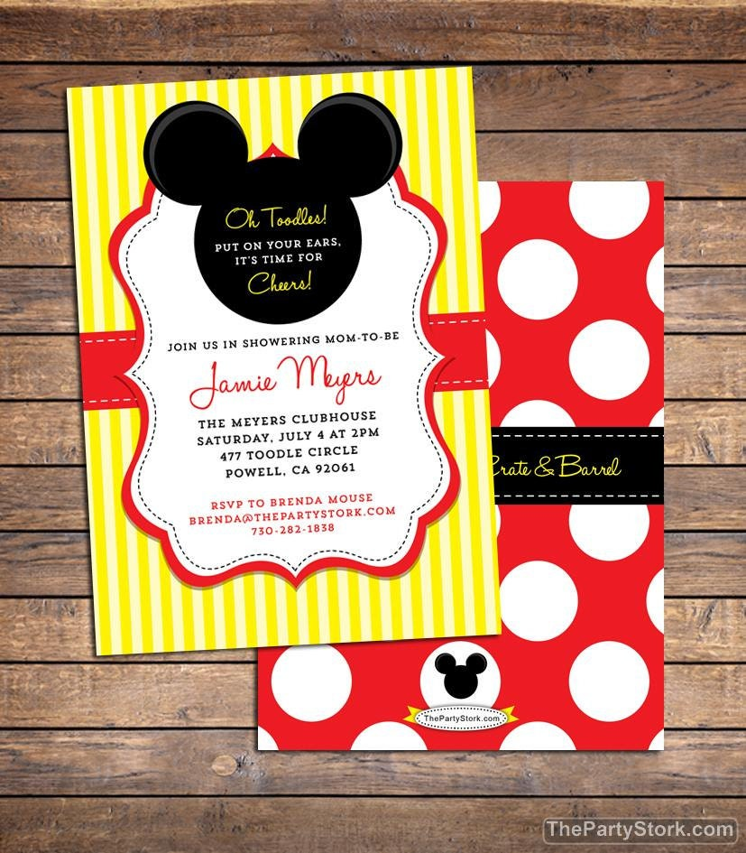 It's just an image of Irresistible Mickey Mouse Baby Shower Invitations Printable