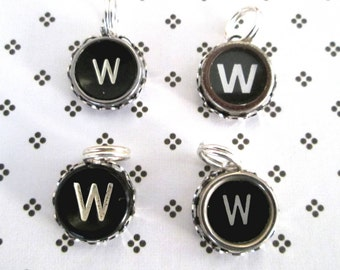 Typewriter Key Charm Pendant Vintage Black and White Letter W Initial W